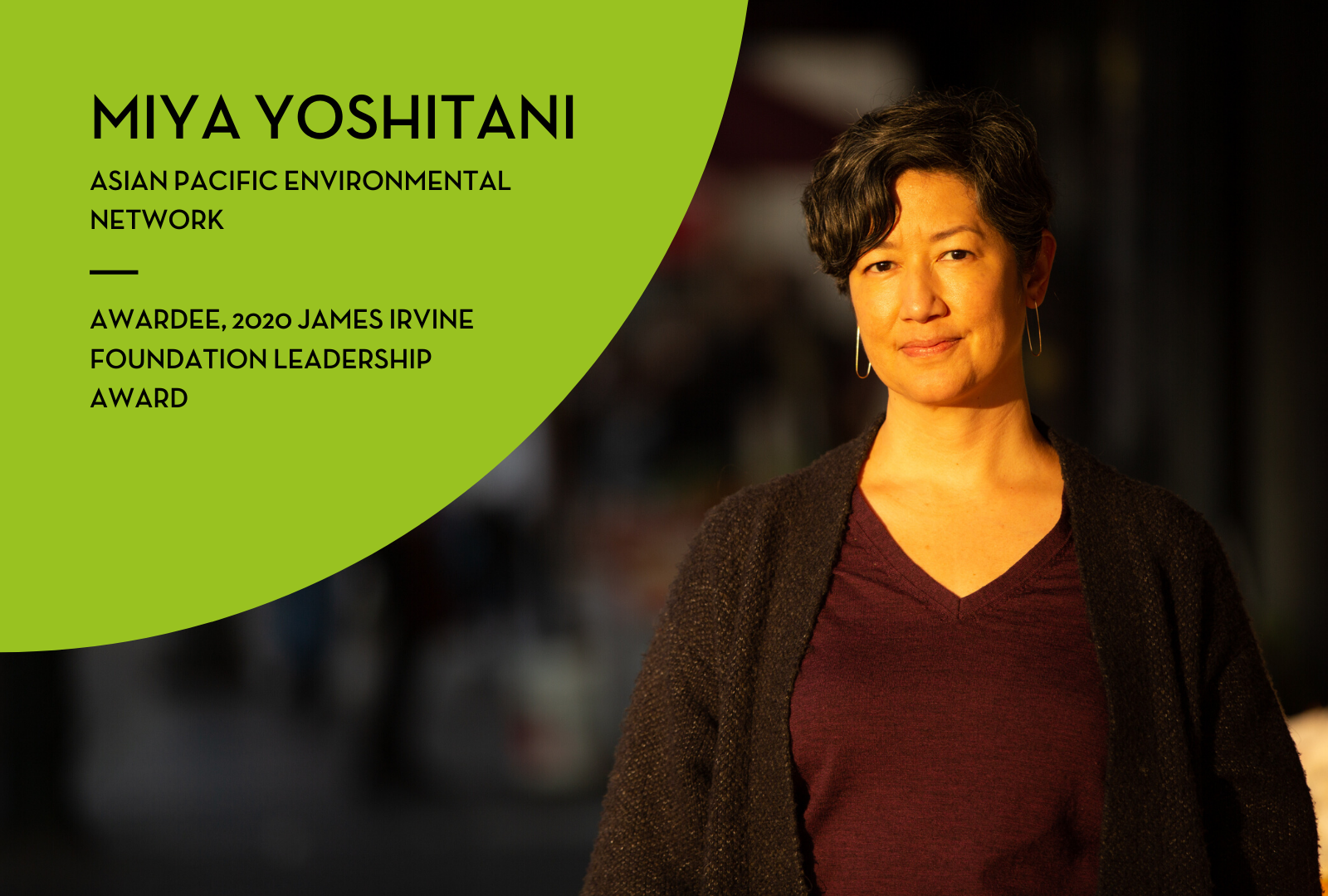 Miya Yoshitani receives the 2020 James Irvine Foundation Leadership Award