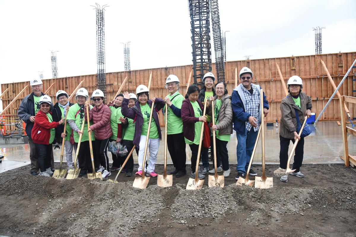 APEN members breaking ground at the Brooklyn Basin affordable housing project in Oakland.