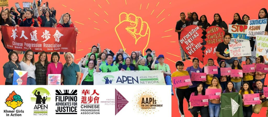 Collage of several images of Asian organizers and members at protests, including logos of sponsoring organizations.