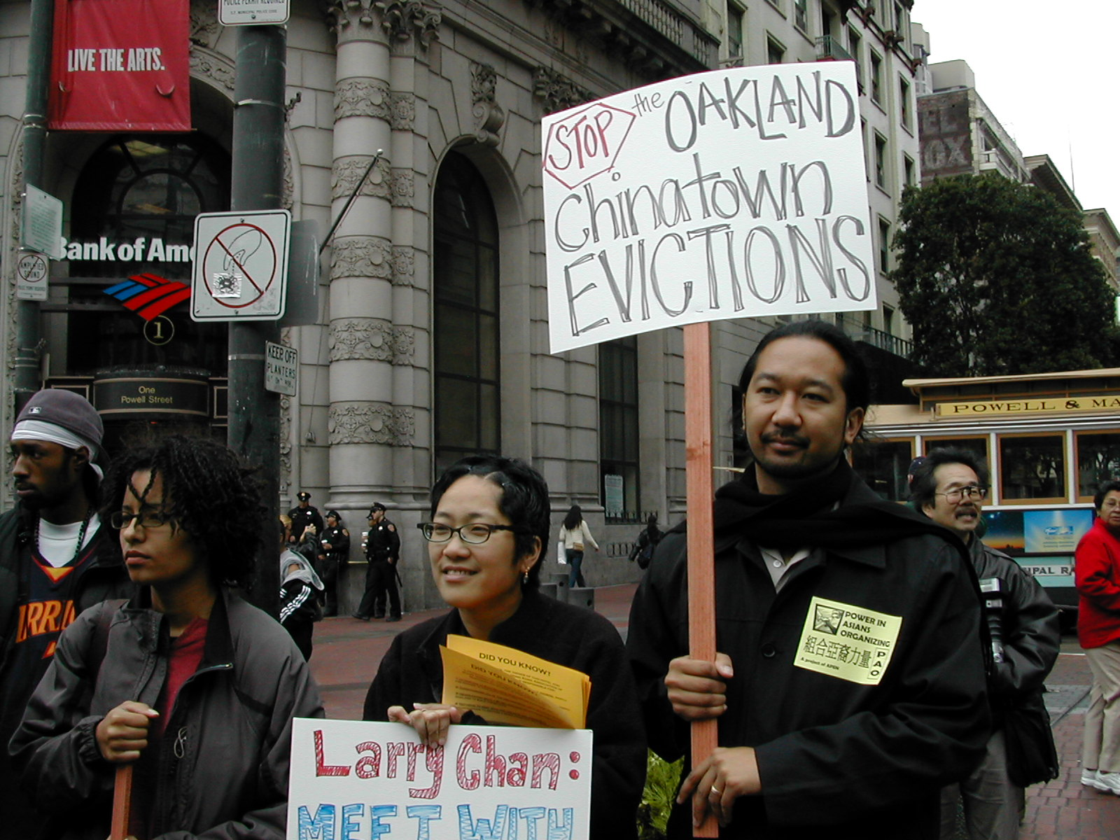 APEN members and staff at a rally in Chinatown in the early 2000s
